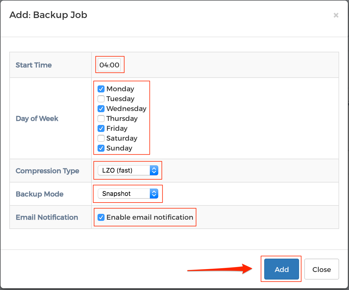 Step 5 - Scheduled Backups