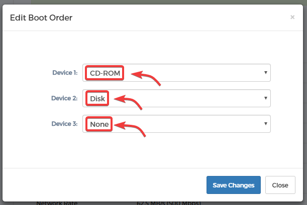KVM Reinstall - Step 7 - Select Boot Order